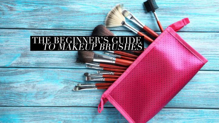 46166833 - makeup brushes set on a blue wooden background